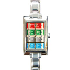 Set Of The Twelve Signs Of The Zodiac Astrology Birth Symbols Rectangle Italian Charm Watch