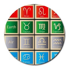 Set Of The Twelve Signs Of The Zodiac Astrology Birth Symbols Round Mousepads