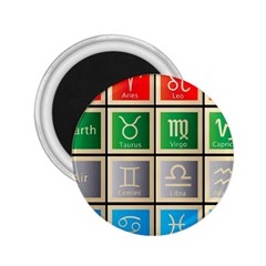 Set Of The Twelve Signs Of The Zodiac Astrology Birth Symbols 2.25  Magnets