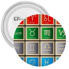 Set Of The Twelve Signs Of The Zodiac Astrology Birth Symbols 3  Buttons