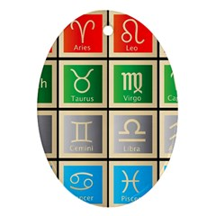 Set Of The Twelve Signs Of The Zodiac Astrology Birth Symbols Ornament (oval)