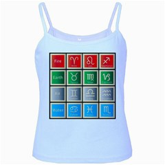 Set Of The Twelve Signs Of The Zodiac Astrology Birth Symbols Baby Blue Spaghetti Tank