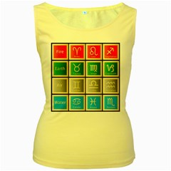Set Of The Twelve Signs Of The Zodiac Astrology Birth Symbols Women s Yellow Tank Top
