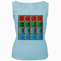 Set Of The Twelve Signs Of The Zodiac Astrology Birth Symbols Women s Baby Blue Tank Top