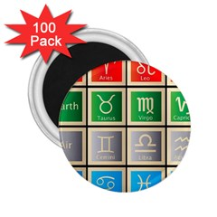 Set Of The Twelve Signs Of The Zodiac Astrology Birth Symbols 2 25  Magnets (100 Pack)