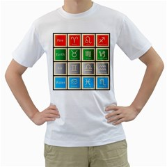 Set Of The Twelve Signs Of The Zodiac Astrology Birth Symbols Men s T Shirt (white) (two Sided)