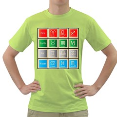 Set Of The Twelve Signs Of The Zodiac Astrology Birth Symbols Green T Shirt