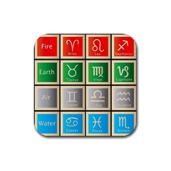 Set Of The Twelve Signs Of The Zodiac Astrology Birth Symbols Rubber Square Coaster (4 Pack)