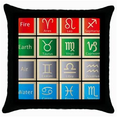 Set Of The Twelve Signs Of The Zodiac Astrology Birth Symbols Throw Pillow Case (black)