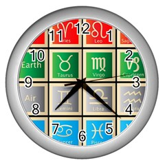 Set Of The Twelve Signs Of The Zodiac Astrology Birth Symbols Wall Clocks (silver)