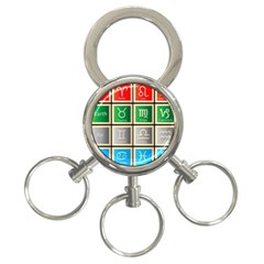 Set Of The Twelve Signs Of The Zodiac Astrology Birth Symbols 3-Ring Key Chains