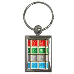 Set Of The Twelve Signs Of The Zodiac Astrology Birth Symbols Key Chains (rectangle)