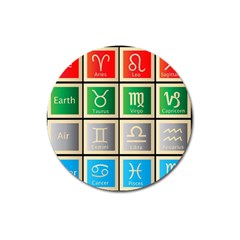 Set Of The Twelve Signs Of The Zodiac Astrology Birth Symbols Magnet 3  (round)