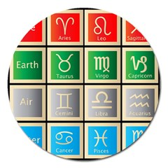 Set Of The Twelve Signs Of The Zodiac Astrology Birth Symbols Magnet 5  (Round)