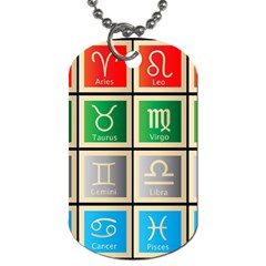 Set Of The Twelve Signs Of The Zodiac Astrology Birth Symbols Dog Tag (one Side)