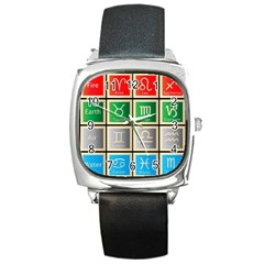 Set Of The Twelve Signs Of The Zodiac Astrology Birth Symbols Square Metal Watch
