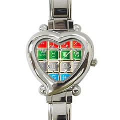 Set Of The Twelve Signs Of The Zodiac Astrology Birth Symbols Heart Italian Charm Watch
