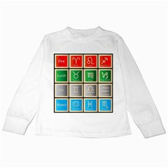 Set Of The Twelve Signs Of The Zodiac Astrology Birth Symbols Kids Long Sleeve T-Shirts