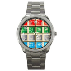 Set Of The Twelve Signs Of The Zodiac Astrology Birth Symbols Sport Metal Watch