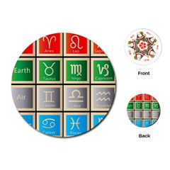 Set Of The Twelve Signs Of The Zodiac Astrology Birth Symbols Playing Cards (Round)