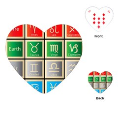 Set Of The Twelve Signs Of The Zodiac Astrology Birth Symbols Playing Cards (heart)