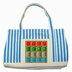 Set Of The Twelve Signs Of The Zodiac Astrology Birth Symbols Striped Blue Tote Bag