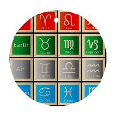 Set Of The Twelve Signs Of The Zodiac Astrology Birth Symbols Round Ornament (Two Sides)