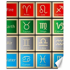 Set Of The Twelve Signs Of The Zodiac Astrology Birth Symbols Canvas 8  X 10