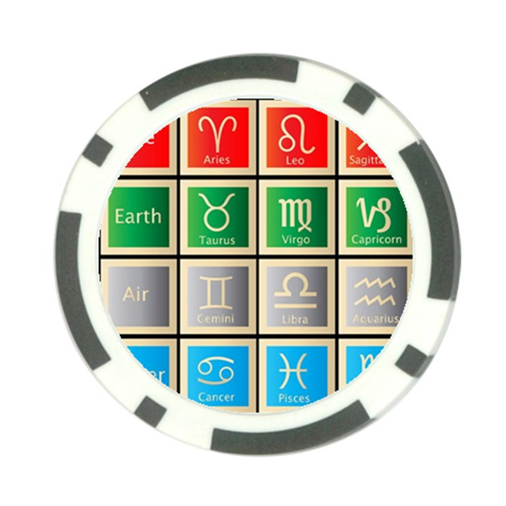 Set Of The Twelve Signs Of The Zodiac Astrology Birth Symbols Poker Chip Card Guard