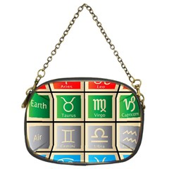 Set Of The Twelve Signs Of The Zodiac Astrology Birth Symbols Chain Purses (two Sides)