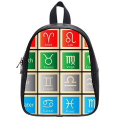 Set Of The Twelve Signs Of The Zodiac Astrology Birth Symbols School Bags (small)
