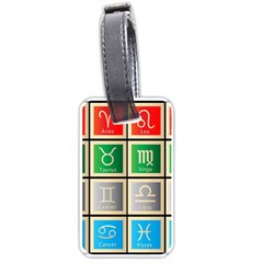 Set Of The Twelve Signs Of The Zodiac Astrology Birth Symbols Luggage Tags (one Side)