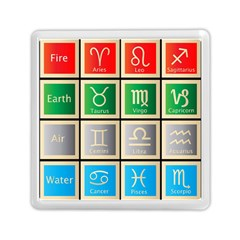 Set Of The Twelve Signs Of The Zodiac Astrology Birth Symbols Memory Card Reader (square)