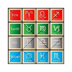 Set Of The Twelve Signs Of The Zodiac Astrology Birth Symbols Acrylic Tangram Puzzle (6  X 6 )