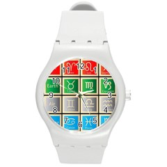 Set Of The Twelve Signs Of The Zodiac Astrology Birth Symbols Round Plastic Sport Watch (m)