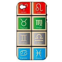 Set Of The Twelve Signs Of The Zodiac Astrology Birth Symbols Apple Iphone 4/4s Hardshell Case (pc+silicone)