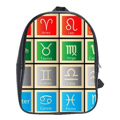 Set Of The Twelve Signs Of The Zodiac Astrology Birth Symbols School Bags (xl)