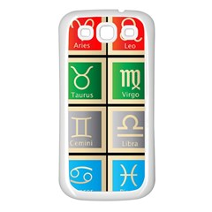 Set Of The Twelve Signs Of The Zodiac Astrology Birth Symbols Samsung Galaxy S3 Back Case (white)