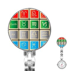 Set Of The Twelve Signs Of The Zodiac Astrology Birth Symbols Stainless Steel Nurses Watch