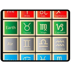 Set Of The Twelve Signs Of The Zodiac Astrology Birth Symbols Double Sided Fleece Blanket (large)