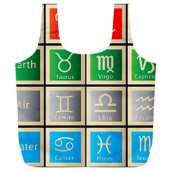 Set Of The Twelve Signs Of The Zodiac Astrology Birth Symbols Full Print Recycle Bags (L)