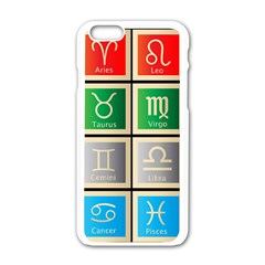 Set Of The Twelve Signs Of The Zodiac Astrology Birth Symbols Apple Iphone 6/6s White Enamel Case