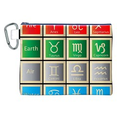 Set Of The Twelve Signs Of The Zodiac Astrology Birth Symbols Canvas Cosmetic Bag (xxl)