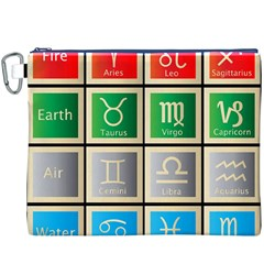 Set Of The Twelve Signs Of The Zodiac Astrology Birth Symbols Canvas Cosmetic Bag (xxxl)