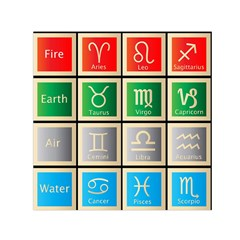 Set Of The Twelve Signs Of The Zodiac Astrology Birth Symbols Small Satin Scarf (Square)