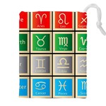 Set Of The Twelve Signs Of The Zodiac Astrology Birth Symbols Drawstring Pouches (XXL) Front