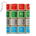 Set Of The Twelve Signs Of The Zodiac Astrology Birth Symbols Drawstring Pouches (XXL) Back