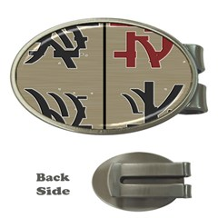 Xia Script On Gray Background Money Clips (oval)
