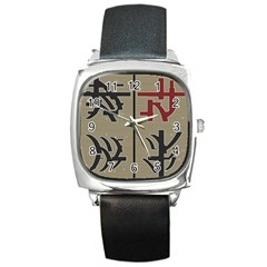Xia Script On Gray Background Square Metal Watch