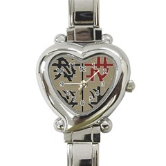 Xia Script On Gray Background Heart Italian Charm Watch